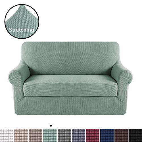 (H.VERSAILTEX 2 Pieces Loveseat Slipcovers Stylish Furniture Cover/Protector, Stay in Place with Lycra Spandex Stretch Durable Fabric, Sage Color)