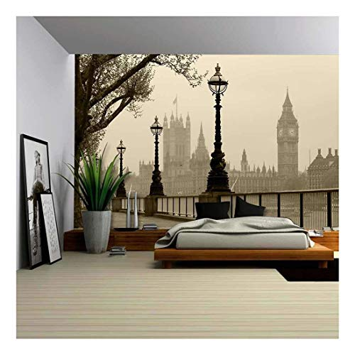 wall26 - Big Ben Houses of Parliament, London in Fog -...