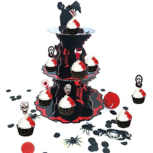 PAPERJAZZ 3 Tier zombie birthday party Halloween Cupcake Display Stand 17 Inch Height Black Red ()