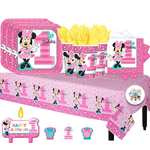 Another Dream Disney Minnie Mouse Fun to Be One Birthday Party Pack for 16 with Plates, Napkins, Cups, Tablecover, and Candles ()