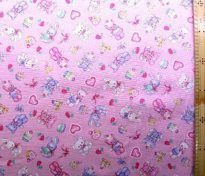 プリント生地・ぬいぐるみ(ピンク) (くま うさぎ リボン ハート ケーキ かわいい おしゃれ 男の子 女の子 子供 入園 入学 ピロル)
