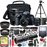 Canon EOS Rebel T7i DSLR Camera with EF-S 18-55mm f/3.5-5.6 + EF 75-300mm f/4-5.6 III Dual Lens Kit + 500mm Preset f/8 Telephoto Lens + 0.43x Wide Angle, 2.2x Pro Bundle