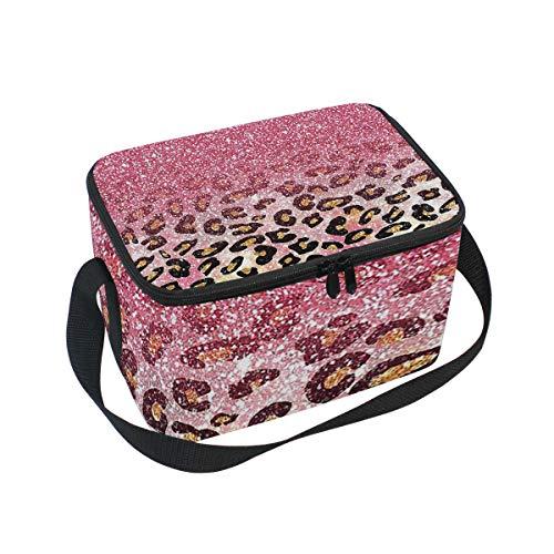 Lunch Bag Cooler Tote Bag Bubble Gum Pink Faux Glitter Leopard Animal Print Lunchbox Meal Prep Handbag for Picnic School Women Men Kids - Leopard Bubble Gum