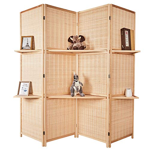Cocosica Bamboo Room Divider, Wall Divider & 4 Panel Folding Privacy Screens with Removable Display Shelves(Nature Bamboo) (Bamboo Room Screen)