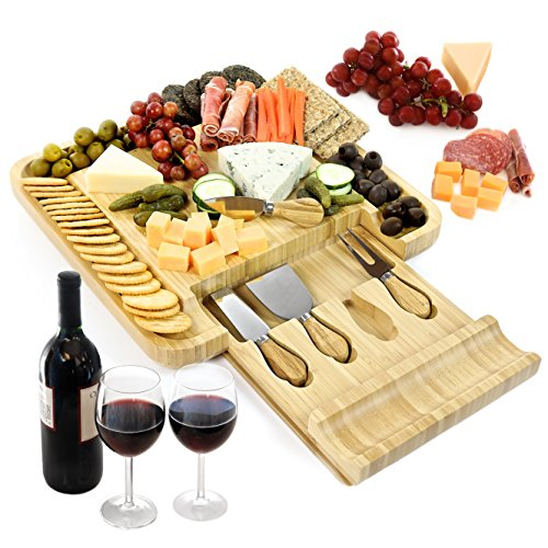 Vistal Cheese Board with Knife and Server Set, Wood Charcuterie Platter and Meat Board with Slide-Out Drawer with Four Stainless Steel Knives and Server Set. Perfect Gift ()