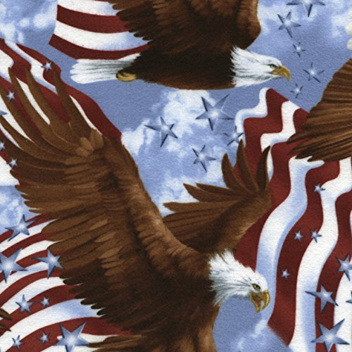Timeless Treasures Flannel Eagles & Flags USA Fabric