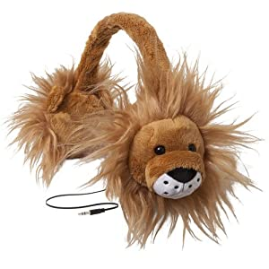 ReTrak Retractable Animalz Tangle-Free, Volume Limiting (85 dB) Over Ear Headphones for Kids, Gold Lion (ETAUDFLION)