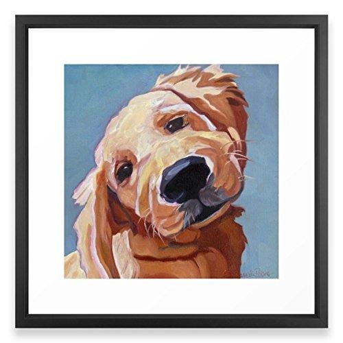 Golden Retriever Puppy Framed - Society6 Golden Retriever Puppy Original Oil Painting Framed Print Vector Black MEDIUM (Gallery)