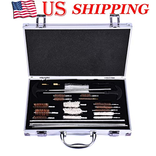 Ahomed Universal Gun Cleaning Kit for All Guns - Shotguns Barrel Cleaning Kit for Handgun, Pistol, Revolver, Rifles and Rifle Cleaning Kit - Sturdy Brass Tips (28 pcs, Silver)