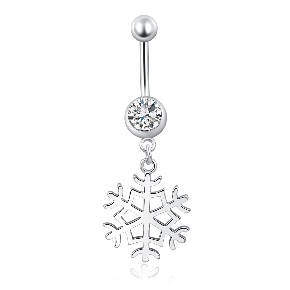 Fashion Women Body Piercing Jewelry 14G Hypoallergenic Stainless Steel Cubic Zirconia Belly Button Ring Navel Rings Snowflake Rings Dangle