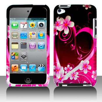 Purple Flower Heart Design Snap on Hard Skin Shell Protector Faceplate Cover Case for Apple Ipod Touch Itouch 4 4g 4th Gen + Lcd Screen Guard + Microfiber Pouch Bag + Case Opener