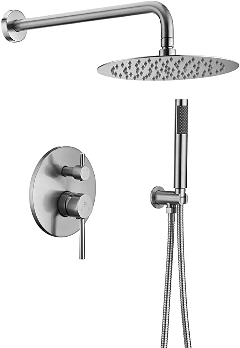 "HOMELODY Shower Faucet Set(Valve Included) Brushed Nickel Shower System Wall Mounted with 10"" Roud Rainfall Shower head and Handheld Shower Head Set"