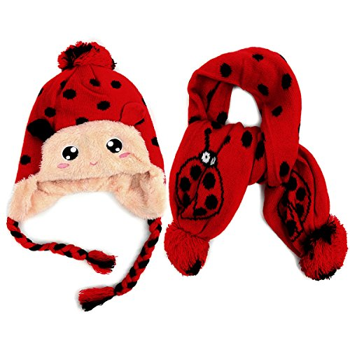 Kid's Winter Knitted Scarf and Beanie Hat Set~Adorable Polka Dot Lady Bug Design~ Lined Ear Flap Hat with Pom & Scarf with ()