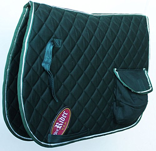 Horse Equine Quilted ENGLISH SADDLE PAD Tack Trail Riding Green Pocket (English Trail Saddle)