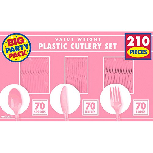 Amscan Reusable Big Party Pack Value Window Box Cutlery Set, Saver Pack of 8 (Each Includes 210 Pieces), Made from Plastic, New Pink