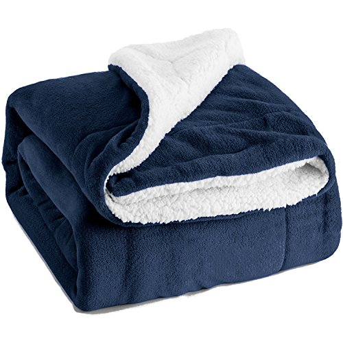 Sherpa Throw Blanket Navy Blue Twin Size Reversible Fuzzy Bed Blankets Microfiber All Seasons Luxury Fluffy Blanket for Bed or Couch 60