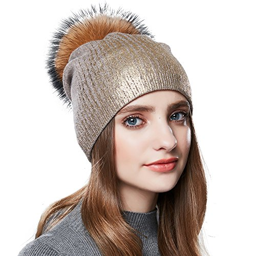 Womens Pom Pom Beanie for Winter Hats Real Fox Fur Slouchy Hat Sparkle Shiny,Khaki,Normal one size fit for all with stretch by SOMALER