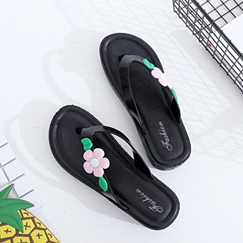 Hunpta Frauen Sommerblumen Cool Trailers Soft Pantoffeln Beach Flip Flops Schuhe Rosa