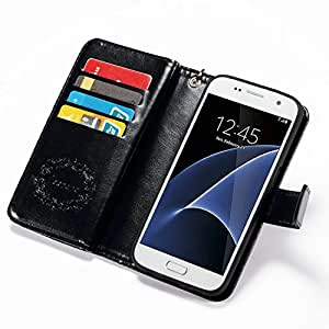 S7 Edge Case, Galaxy S7 Edge Case, Joopapa Galaxy S7 Edge Wallet Case,Pu Leather Magnet Wallet Credit Card Holder Flip Cover Case Built-in 12 Card Slots & Stand Case for Samsung Galaxy S7 Edge (Black)