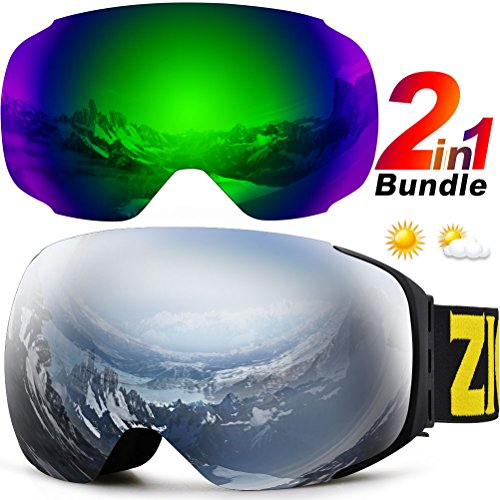 ZIONOR XA Ski Snowboard Snow Goggles for Men Women Anti-fog UV Protection Spherical Dual Lens - Girl Frame Specs For Latest