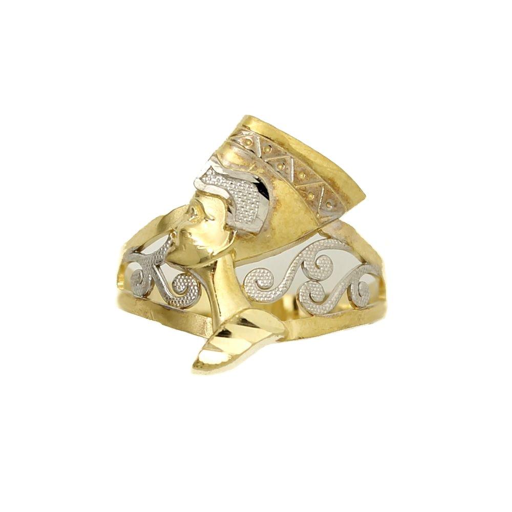 10k Yellow Gold Filigree Egyptian Pharaoh Filigree King Band Ring Size 8
