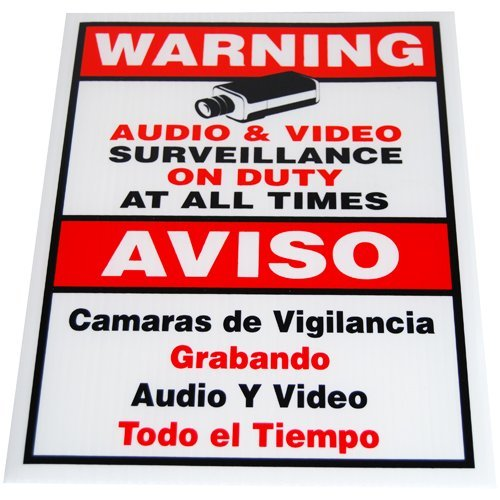 GW Security 9 x 11 inches Warning Security Sign for CCTV Security Camera Video Surveillance System