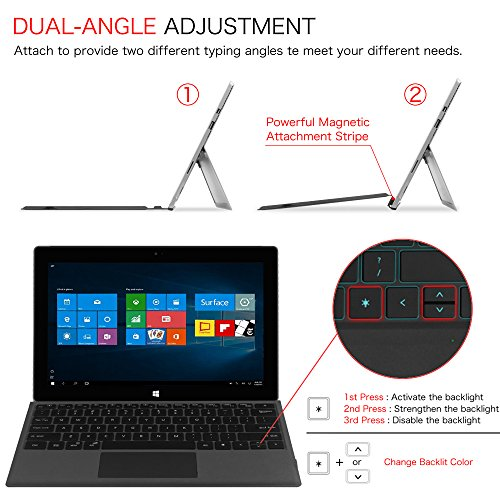 Fintie Microsoft Surface Pro 2017 / Pro 4 / Pro 3 Type Cover, [7-Color Backlit] Ultra-Slim Portable Wireless Bluetooth Keyboard with Two-Button Trackpad and Built-in Rechargeable Battery, Black by Fintie (Image #4)