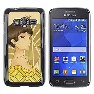 Be Good Phone Accessory // Dura Cáscara cubierta Protectora Caso Carcasa Funda de Protección para Samsung Galaxy Ace 4 G313 SM-G313F // Sexy Woman Brown Eyes Bare Shoulders Art