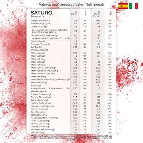 Saturo Fresa Bebida Sustituto Alimenticio | Comida Saciante, Sana y Vegana Lista para Tomar, con Proteínas Isolate, Vitaminas, Minerales y Fibras - Sin ...