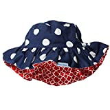 Wee Ones Reversible Wide Brim Sun Hat, Polka Dot & Quatrefoil Blue, 12-18 Mths