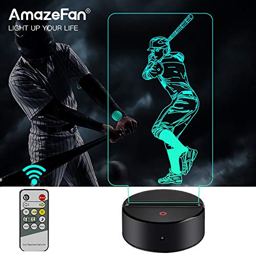 AmazeFan Baseball Night Light for Kids - 3D Baseball Night Lamp 7 Colors Optical Illusion Touch & Remote Control with 2 Acrylic Flats Best Birthday Christmas New Year Gifts for ()