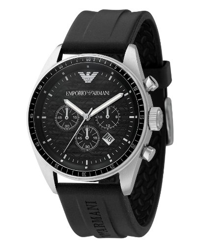 Emporio Armani Watch, Men's Chronograph Black Rubber Strap (Mop Quartz Watch)