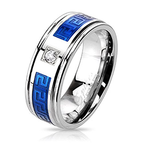 STR-0013 Stainless Steel Duo Tone Blue IP Round CZ Centered Maze Inlay Band Ring; Comes With Free Gift Box
