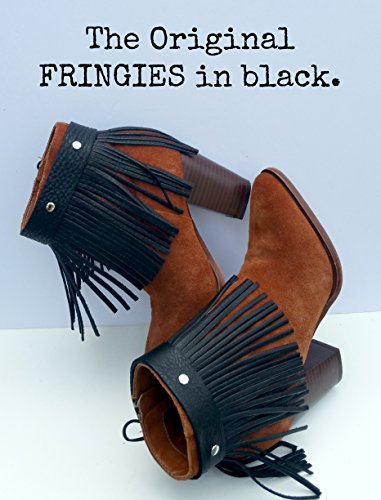 Handmade Leather Fringe Boot cuff Anklet shoe Accessory in Black from WIYANNA Leather