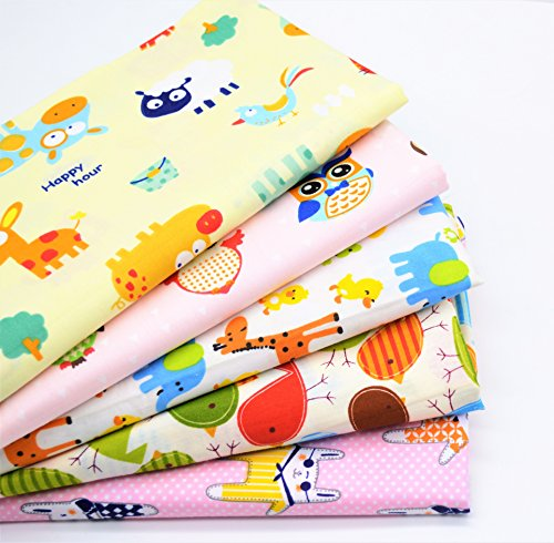 iNee 5 Fat Quarters Zoo Animals Quilting Fabric Bundles Sewing DIY Craft, 18