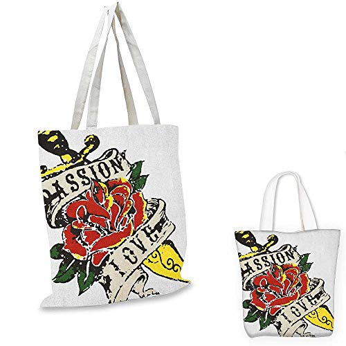 - Rose shopping bag storage pouch Vintage Rose Wrapped Tool in Tattoo Art Style Gothic Passion and Love Theme small tote shopping bag Scarlet Yellow Green. 13