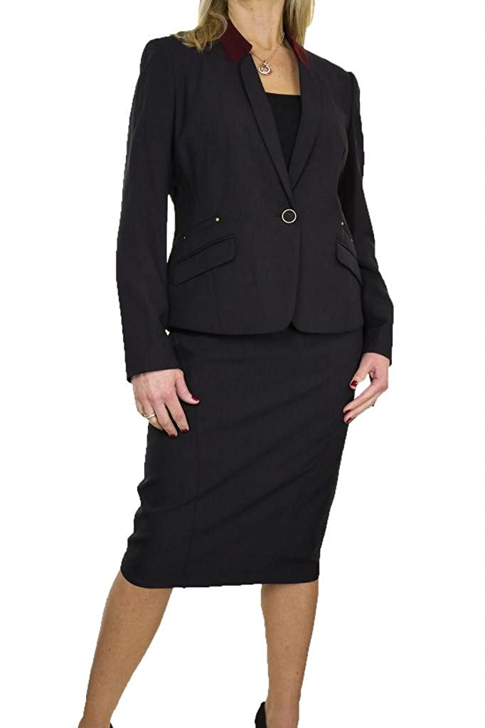 ICE (6399-1) Smart Washable Fully Lined Business Evening Skirt Suit Black