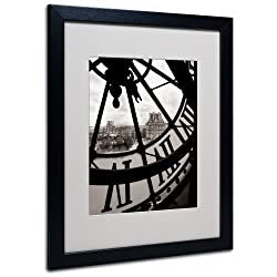 Big Clock Canvas Wall Art by Chris Bliss with Black Frame, 16 by 20-Inch