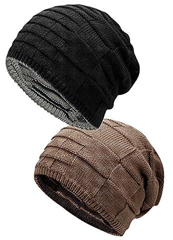 Warm Slouchy Beanie Unisex Soft Knit Trendy Chunky Skull Headwear Ruffle Baggy Casual Cap Ski Snowboarding Hat 2 Pack Black - Yarn Fuchsia Plum