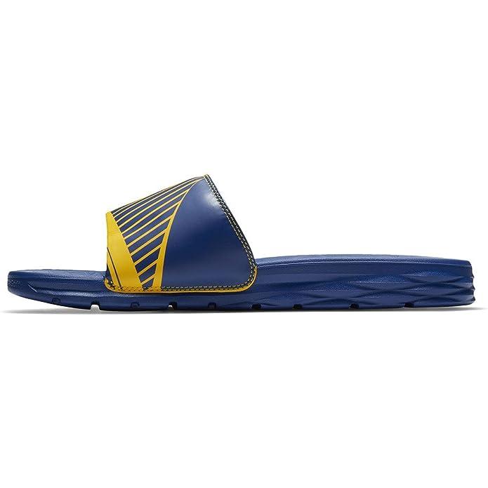 Amazon.com   NIKE Men's Benassi Solarsoft NBA, Amarillo/Rush Blue   Sport  Sandals & Slides