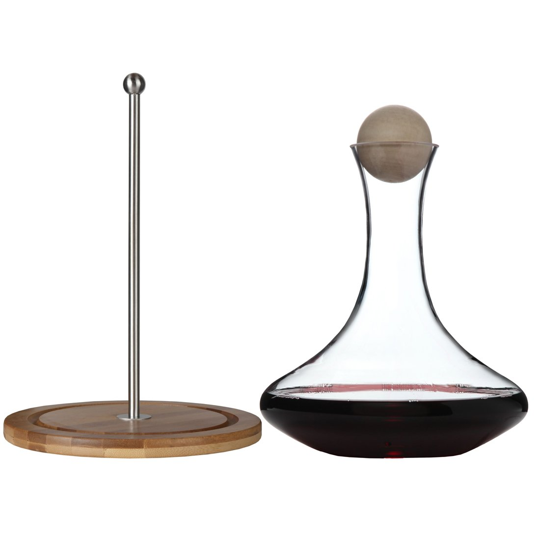Classic Glass Wine Decanter with Wooden Ball Stopper and Decanter Dryer Stand. By Lily's Home by Lilyshome