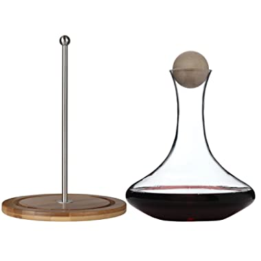 Classic Glass Wine Decanter with Wooden Ball Stopper and Decanter Dryer Stand. By Lily's Home