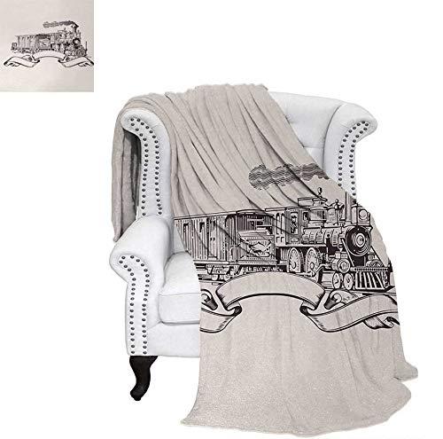 (Summer Quilt Comforter Old School Steam Locomotive with Banner on an Off White Background Monochrome Digital Printing Blanket 60