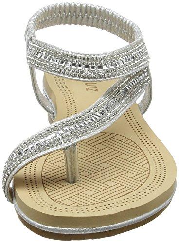 Cheville Sandales Flat Diamante Quiz Silver Bride Femme Argenté 00 Strap Slant xwpYqfqI