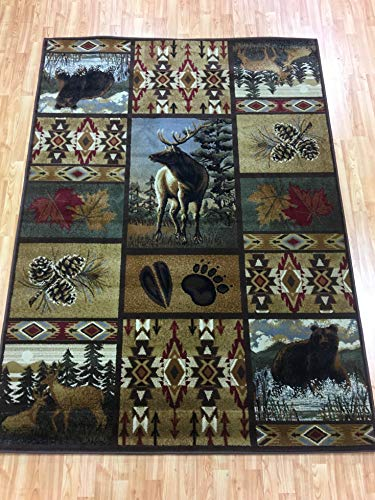 California Drapes Patchwork Wildlife Cabin Carpet, Area Rug (5ft X 7ft, Patchwork)