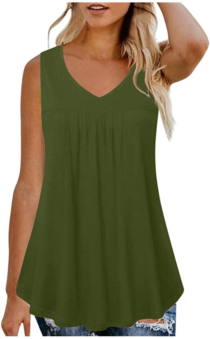 Cokil Women Casual Camisole Pullover Tanks Tops V-Neck Solid Vest Vest Tops