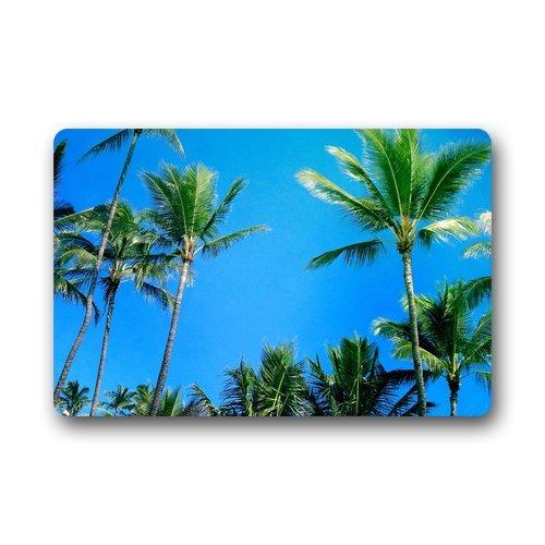 Custom Palm Tree Beach Ocean Sea Hawaiian Tropical Door Mats Cover Non-Slip Machine Washable Outdoor Indoor Bathroom Kitchen Decor Rug Mat
