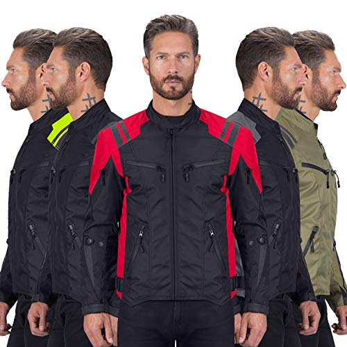 Viking Cycle Ironborn Protective Textile Motorcycle Jacket for Men - Waterproof, Breathable, CE Approved Armor for Bikers (Red, XL)