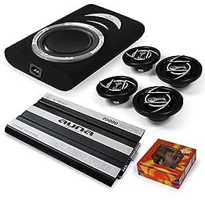 """4.1 """"Silverstone"""" Set Equipo de sonido Hifi para coche coche (Amplificador, subwoofer, 2x altavoces, cableado 60A AGU, 10.000W )"""