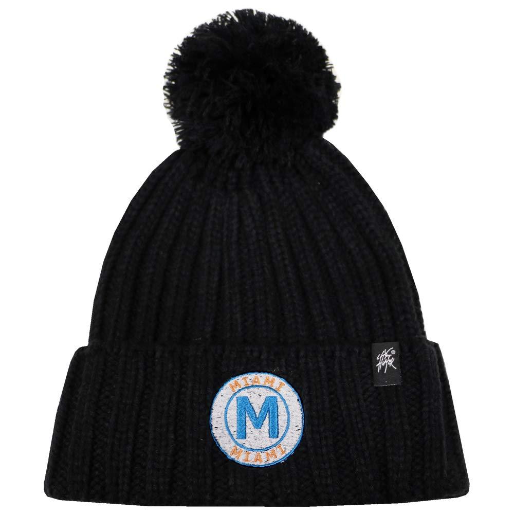 Black City Hunter Ck1081 Miami M Patch Pom Winter Beanie Hat